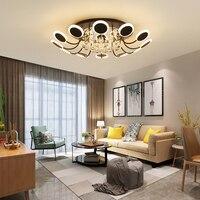 Işıklar ve Aydınlatma'ten Avizeler'de Sıcak kristal Modern Led avize oturma odası yatak odası çalışma odası için ev beyaz veya siyah bitmiş 110V 220V avize fikstür