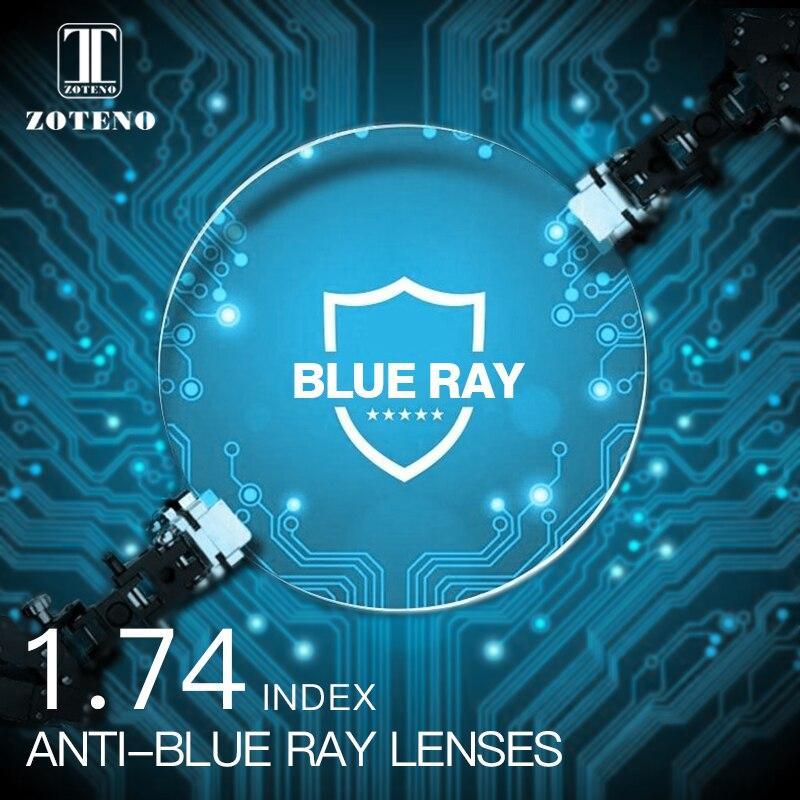 1.74 Index Anti blue ray Lentilles Monofocal Asphérique Résine Vision Myopie Hypermétropie Presbytie Optique Prescription Lunettes Lentille
