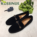 Women Real rabbit Fur Shoes Genuine Leather Womens Retro Slipper Flats Female Casual Slip On Loafer Flats For Women Cozy Shoes