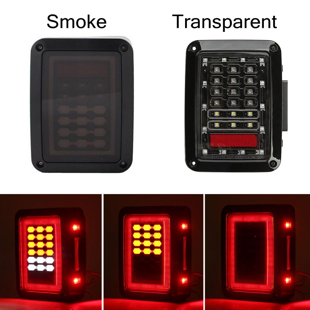 iSincer For 07-16 Jeep Wrangler JK US version LED Tail Lights Brake Turn Signal Reverse Lamp Rear Lights rovan lt car shell kit transparent black red blue yellow for losi 5ive t