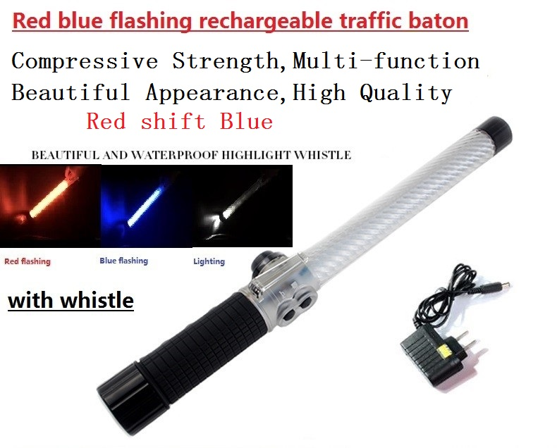 40cm rechargeable style red shift blue flashing traffic baton with whistle 54cm 4cm outdoor led double color traffic warning flashing wand baton police ref baton safety signal command indicator tool