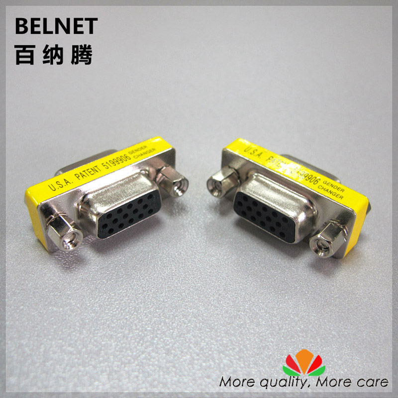 VGA adapter male to Female connector Female to Female solderless contact 15DB 3 rows end-to-end needle display adapters 2pcs/lot