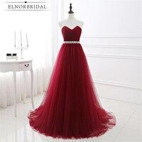Elnorbridal Real Photo Burgund Abendkleid Plus Size Formale 2017 Vestido Longo De Festa Importierte Kleid Lange Abschlussball-kleider