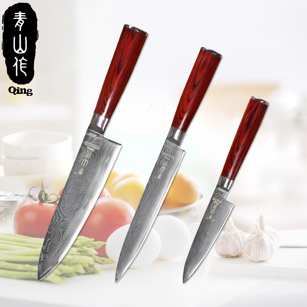 end kitchen knives aliexpress com buy qing 3 pieces damascus knife set high