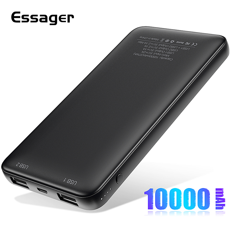 Essager batterie de secours extra plate 10000mah Double USB Powerbank Pour Xiao mi mi 9 iPhone 10000 mAh Poverbank Portable Chargeur De Batterie Externe