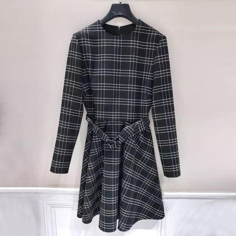 Haute Qualité Les Vintage Pour Pics Bureau As À Manches Longues Coréen Plaid Style Robe Femmes De SwxaPqag7