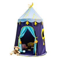 Children's Tent Blue Indoor Starry Sky Game Room Baby Toy Tent Outdoor Toy Tents Teepee Playhouse for Kids Folding Playtent|Toy Tents| |  -