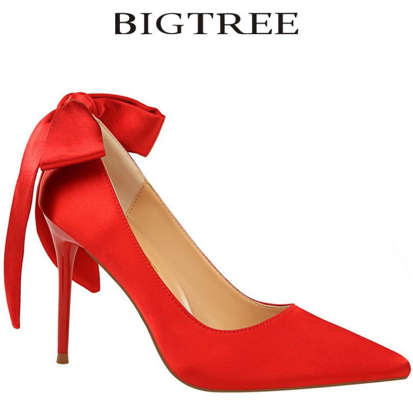 Bigtree 2017 Big Butterfly-knot Women Pumps Sexy Silk Pointed Toe Thin Heel High Heels Brand Valentin Shoes For Women Women Heel