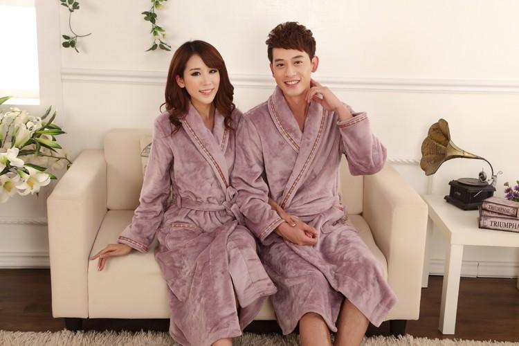 осенне-зимние толстые фланелевые мужчины халат коралловый флис халат мужской плюс размер пижамы с длинными рукавами пары ночной рубашке