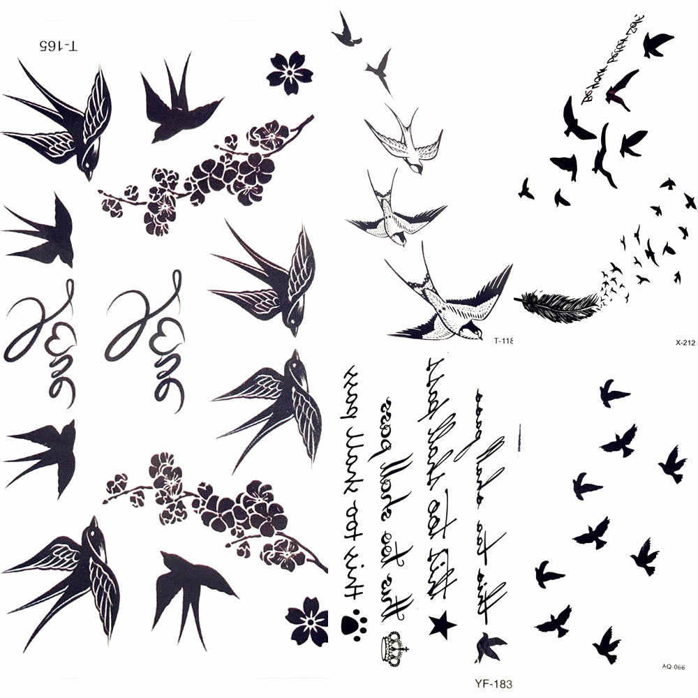 Cute Swallow Bird Feather Temporary Stickers Flower Branch Letter Water Transfer Tattoo Women Body Chest Arm Art Tattoo Men Hand