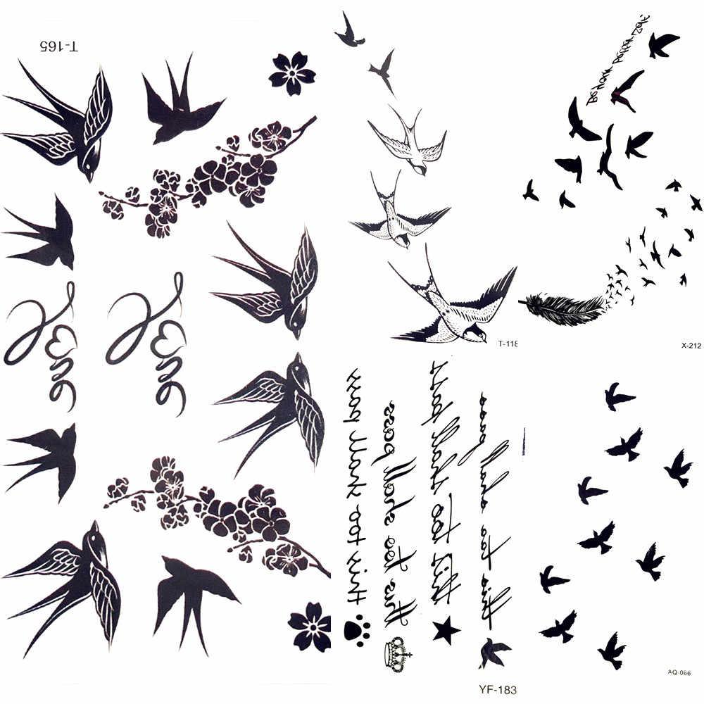 милые ласточка птица перо временные наклейки ветвь цветка письмо