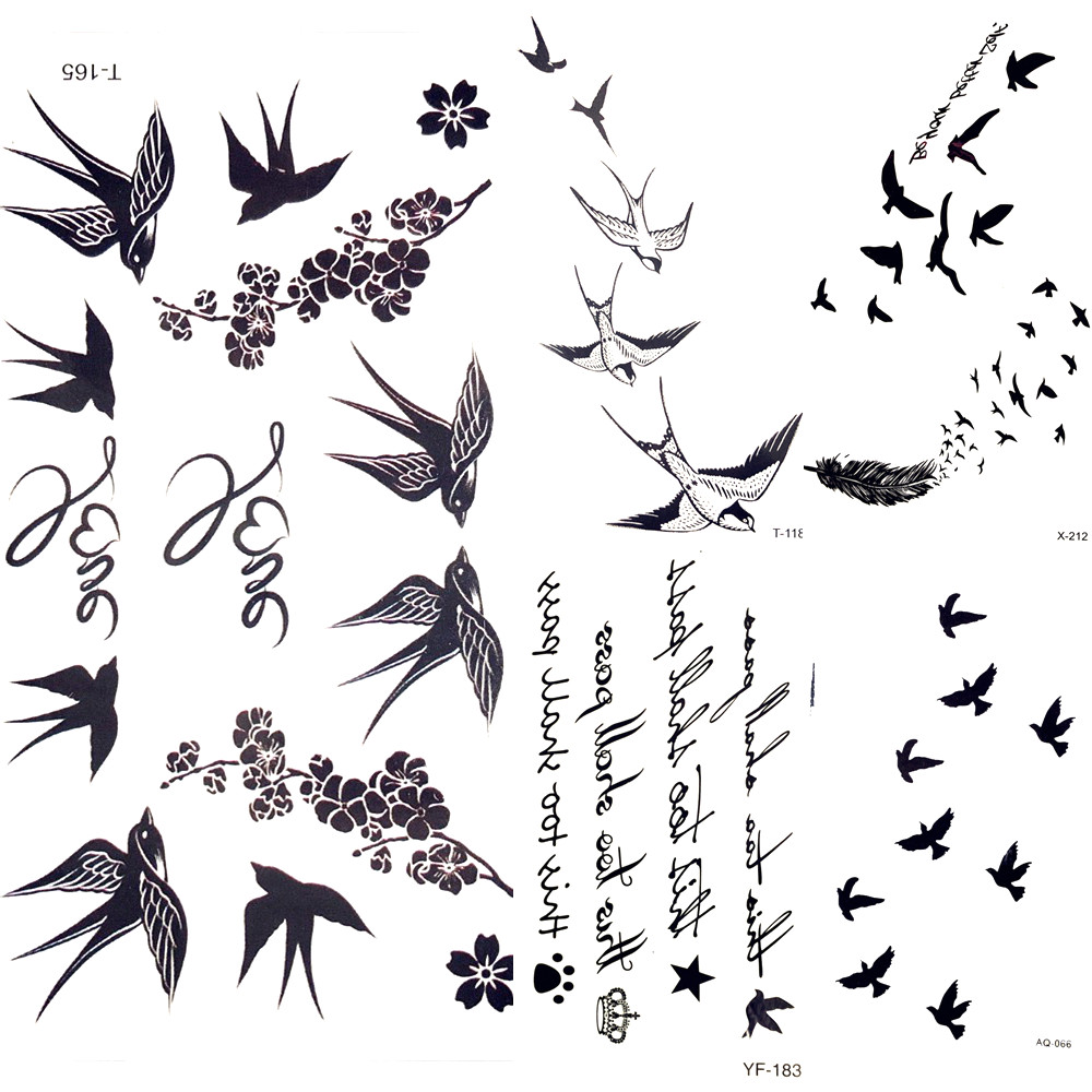 Tattoo Flash Wallpaper By Feathr: Cute Swallow Bird Feather Temporary Stickers Flower Branch