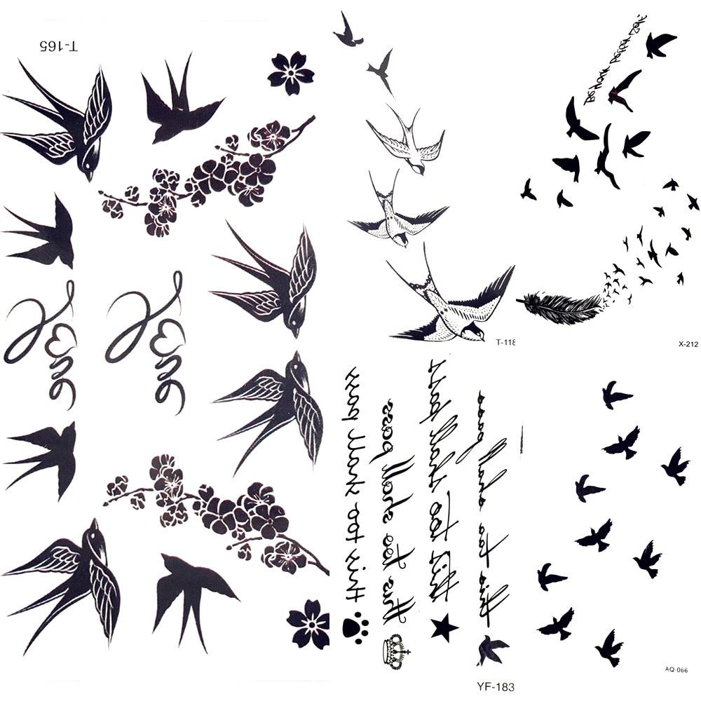 Cute Swallow Bird Feather Temporary Stickers Flower Branch Letter Water Transfer Tattoo Women Body Chest Arm Art Tattoo Men Hand