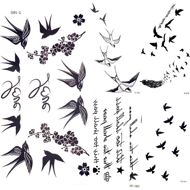 4586b1843c701 Cute Swallow Bird Feather Temporary Stickers Flower Branch Letter Water  Transfer Tattoo Women Body Chest Arm Art Tattoo Men Hand