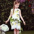 2017 Brand Girls Summer Style Baby Kids Party Dresses Hollow Princess Dress Girls Clothing Tassel Lemon Printed Children Clothes