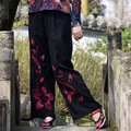 Summer National Style Black Patch Embroidered Flowers Wide Leg Pants Spring Models Loose Waist Horn Type Cotton Linen Pants