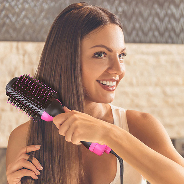 Dropshipping Electric Heating Comb Hair Straightener Curler Professional Salon One Step Dry/Wet Two Use Hair Dryer Massage Brush 5