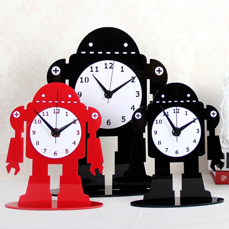 2019 acrylique grande Table numérique horloges Design moderne dessin animé Ultra calme Quartz bureau horloge noir bureau montre livraison gratuite - 3