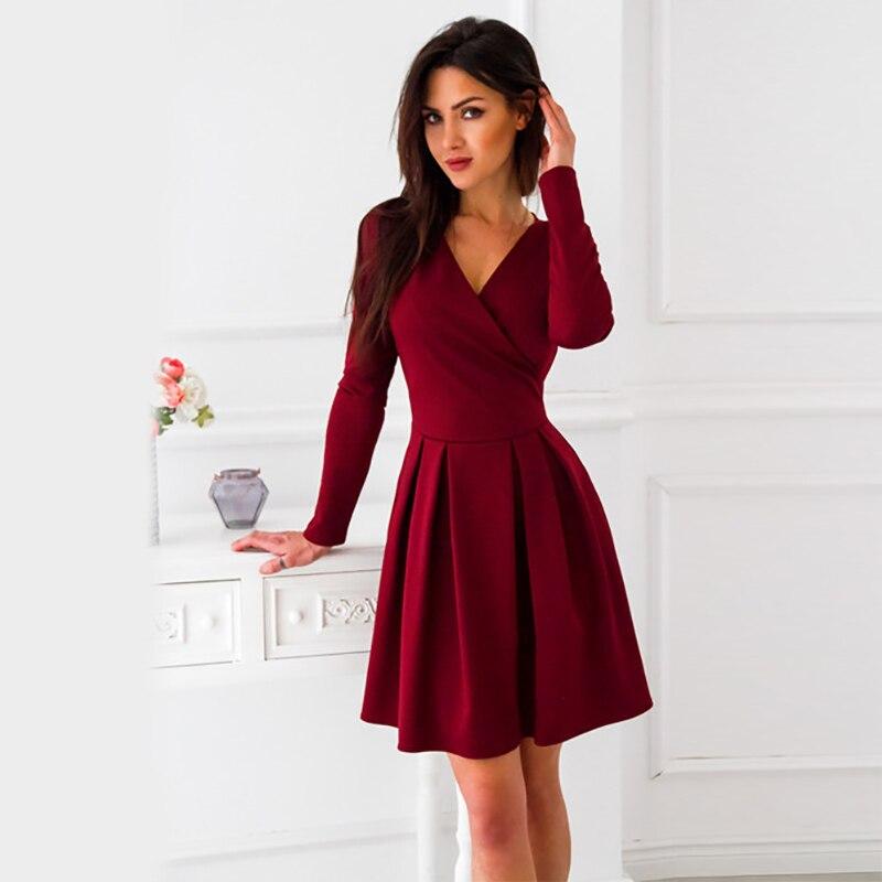 Hot Women Vintage Dress 2019 New Arrival Autumn Summer Long Sleeve Deep V-Neck Sexy A-Line Mini Party Dress Vestidos