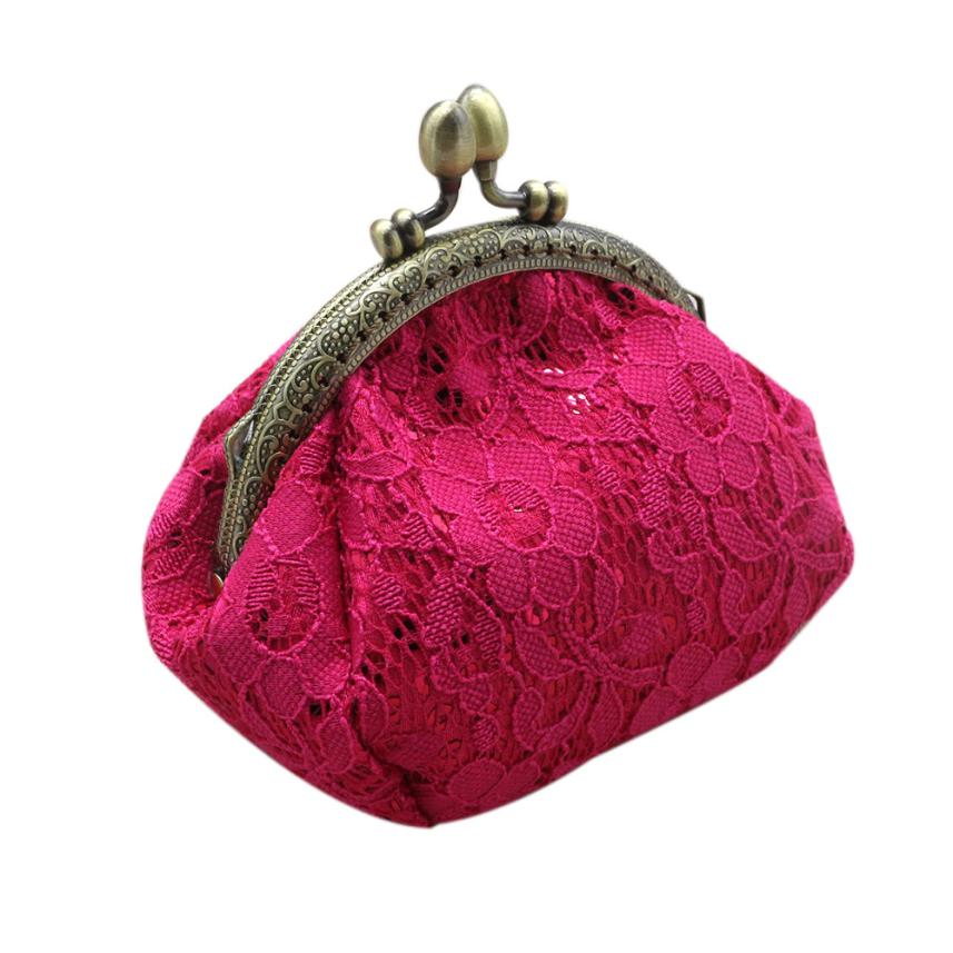 Women Lady Retro Vintage Lace Small Wallet Hasp Purse Lady Clutch Bag Purse For Coins