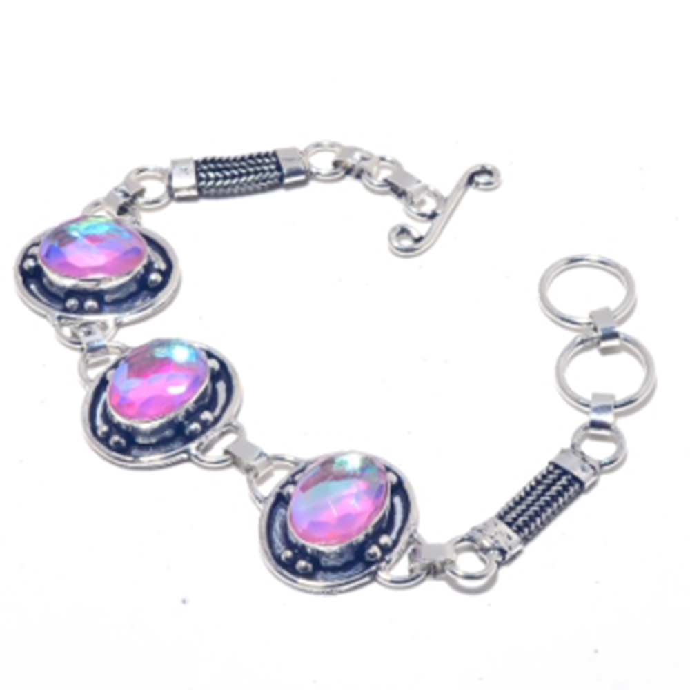 Rainbow Topas Bracelet Silver Overlay over Copper 20 4cm B3805 in Chain Link Bracelets from Jewelry Accessories
