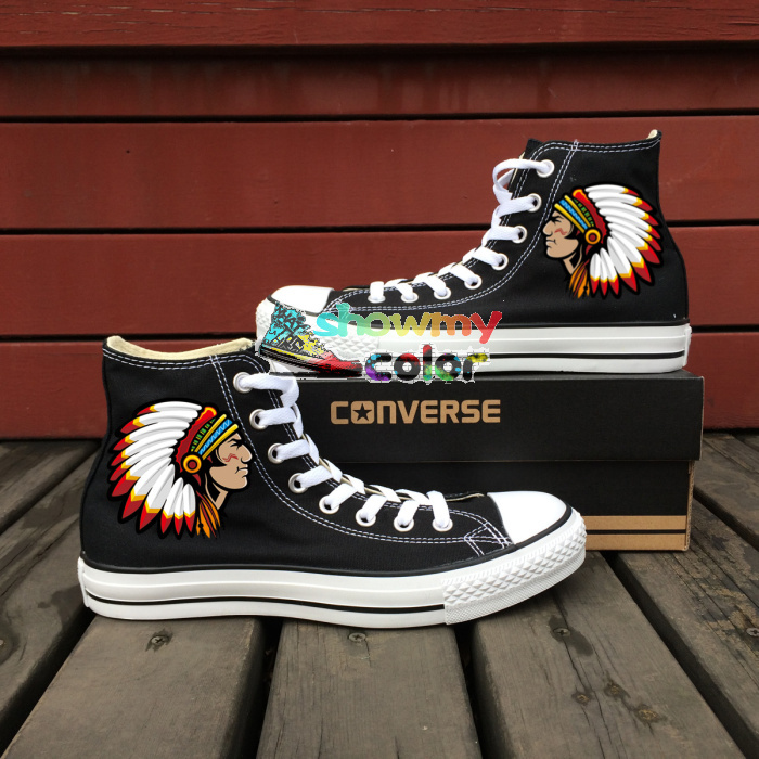 c5808c4b0b25 Converse All Star Women Men Shoes Cleveland Indian Custom Design Hand  Painted Shoes Woman Man High Top Boys Girls Sneakers-in Skateboarding Shoes  from ...
