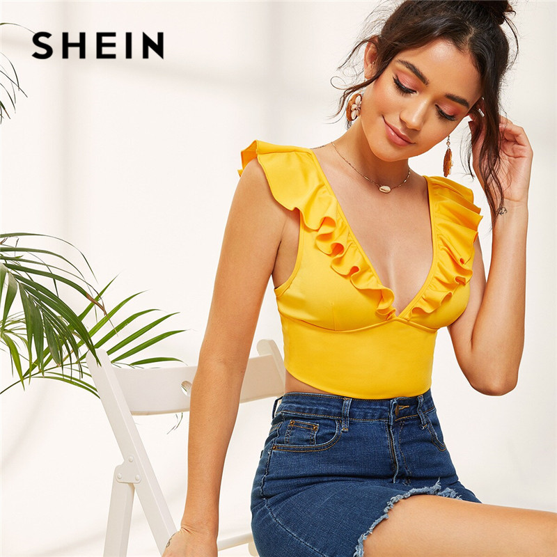 SHEIN Yellow Sexy Plunging Neck Ruffle Trim Crop   Top   Women Clothes 2019 Sleeveless Summer   Top   Ladies Slim Fit Vest   Tank     Top