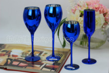 Creative blue color plating metal glass goblet wine champagne cup wedding room decor