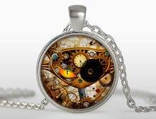 New Unisex Jewelry Steampunk  Necklace Vintage Clock Pendant Glass Photo Jewelry Collier Men Accessories Link ChainHZ1