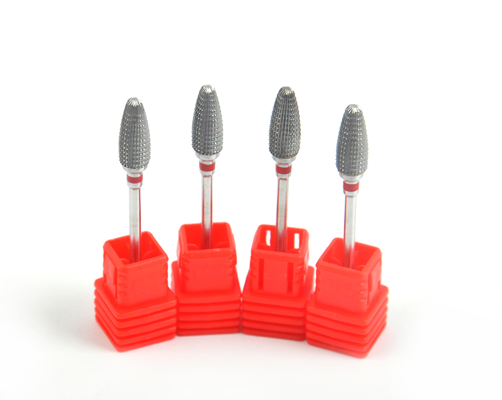 New design 4 pcs Large cone shape carbide nail drill bit electric nail file drill bit coarse carbide drill 332''