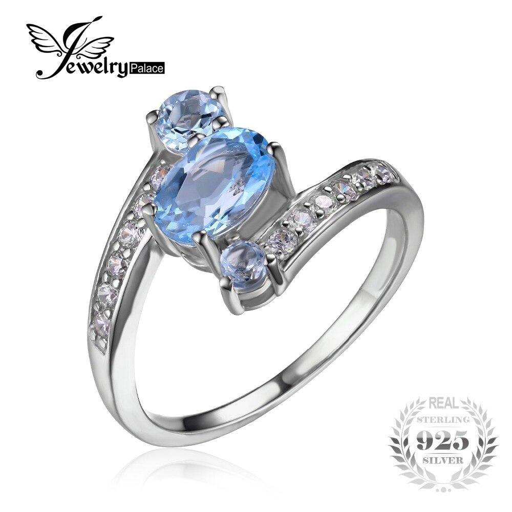 Prix pour JewelryPalace 2.4ct Ovale Naturel Ciel Bleu Topaze Anneau Solide 925 Sterling Argent Anneaux Pour Les Femmes Charmes De Mode De Bijoux De Mariage