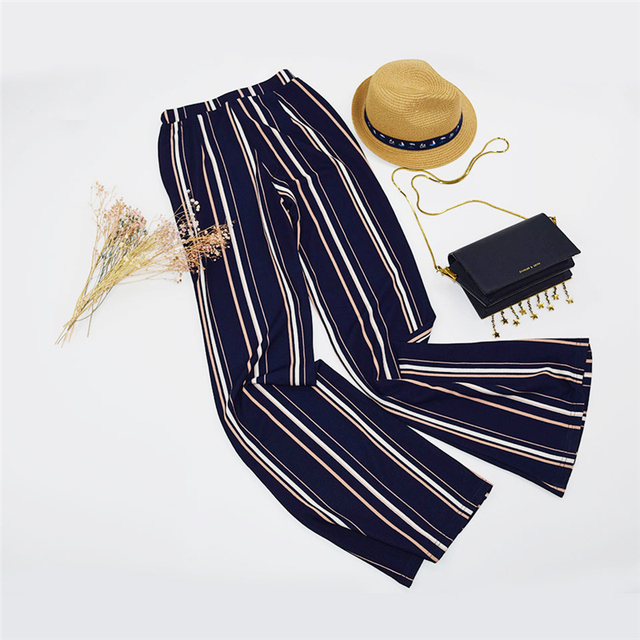 Elegant Striped Boho Flare Pants