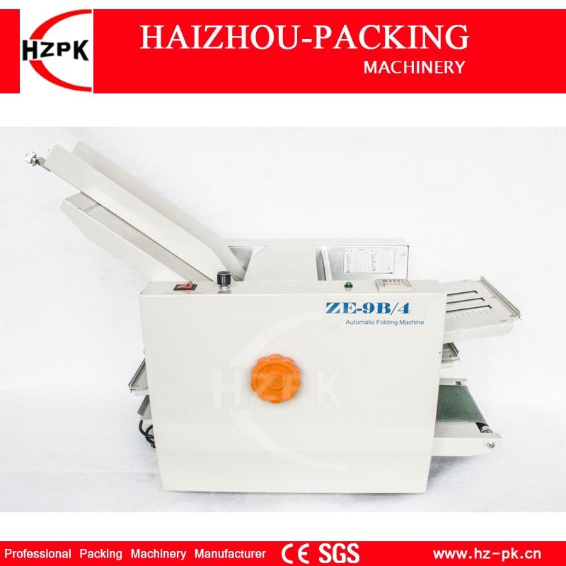 HZPK Tabletop Paper Folding Machine Fold Plate Folder Stacking Machine For Office Business Letter Folding Four Folder  ZE-9B/4