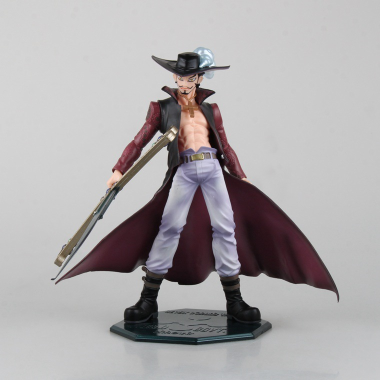 Anime One Piece Dracule Mihawk PVC Action figure collection toy 22cm height Big one models anime one piece zoro and dracula mihawk model garage kit pvc aaction figure classic variable action toy doll