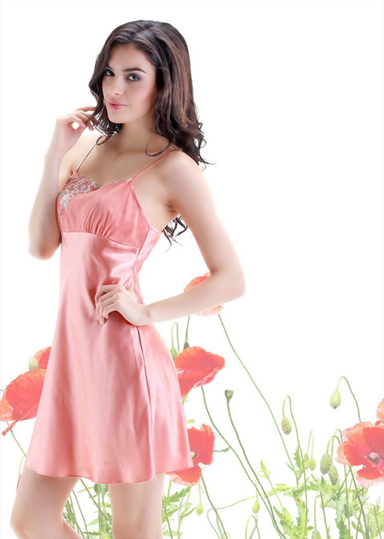 Pink Silk Robes and Nightgowns Two Piece Sets for Women, Nightdress View