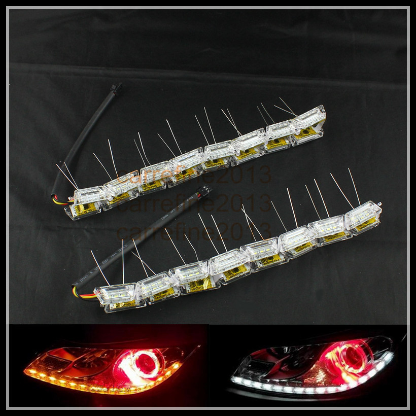 2pcs 50cm crystal led drl flexible strip daytime running light switchback white amber moving drl led turn signal light 6pcs 60cm flexible tear strip switchback daytime running light drl with turn signal light 7 dual color fd 4767