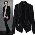 Outono inverno mulheres jaqueta preta de manga comprida turn-down collar plus size moda estilo fino casaco cardigan femme básico casaco