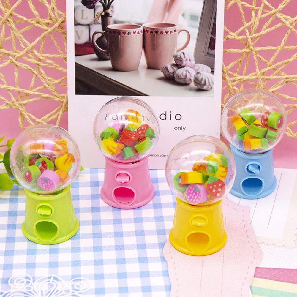 Creative 1pcs Mini Fruit Eraser Twisted Egg Toys For Children Colorful Cartoon Eraser Toys Girls Gift