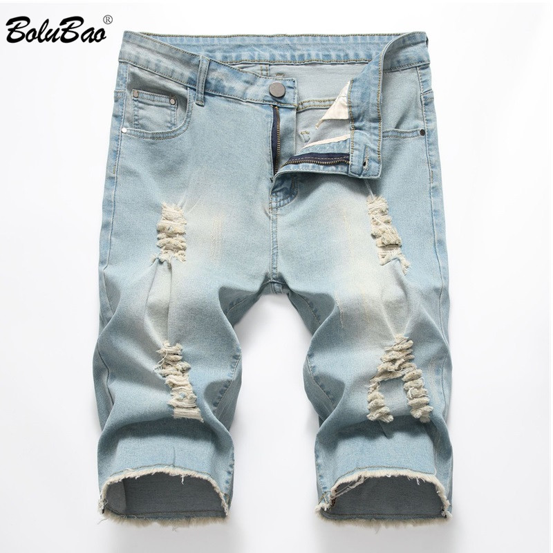 BOLUBAO Jeans Fashion Shorts Stretch Slim-Fit-Hole Ripped Male Men's Casual Men Denim