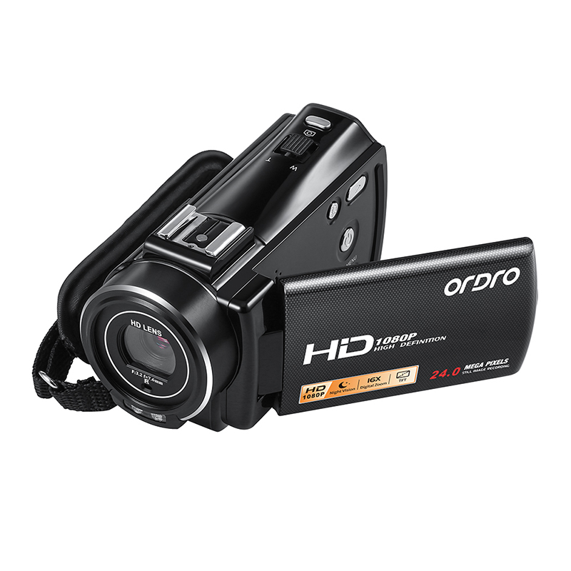 Ordro HDV-V7 Plus Appareil Photo Numérique HD 1080 P 3' Écran IR Nuit Vision Caméra Professionnel Caméscope Télécommande Caméra Vidéo - 2