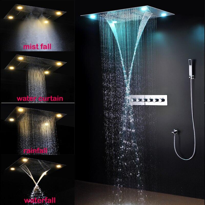 Роскошный LED Душевые системы потолочное крепление Дождь головы комплект большой тропический душ, двойной дождь и водопад душ комплекты