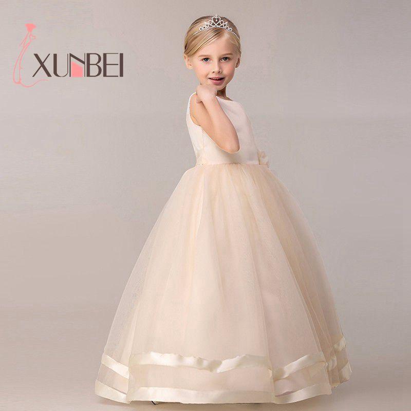 8 Colors Princess Kids Communion Dresses Big Bow Flower Girl Dresses For Weddings Organza Peagant Wedding Party Dress