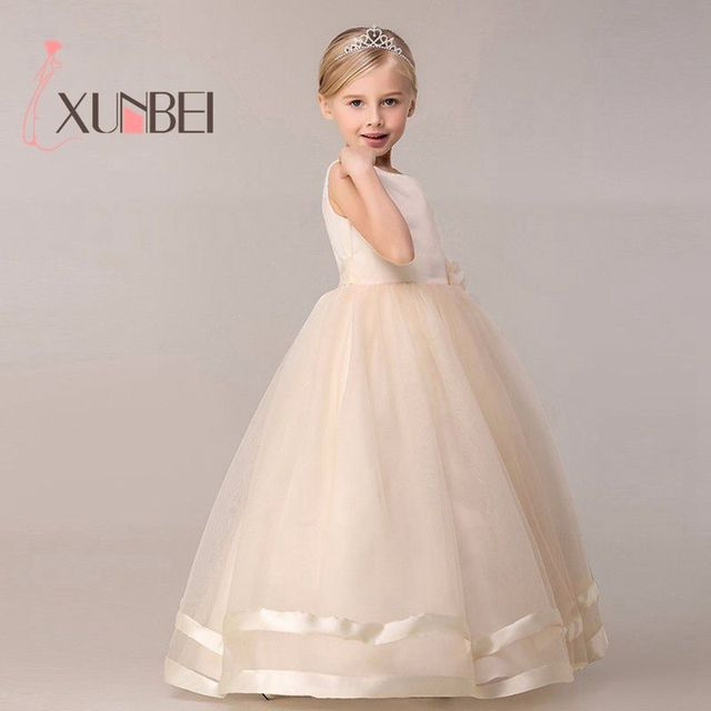8 Colors Princess Kids Communion Dresses Big Bow Flower Girl Dresses For Weddings Organza Peagant Wedding Party Dress