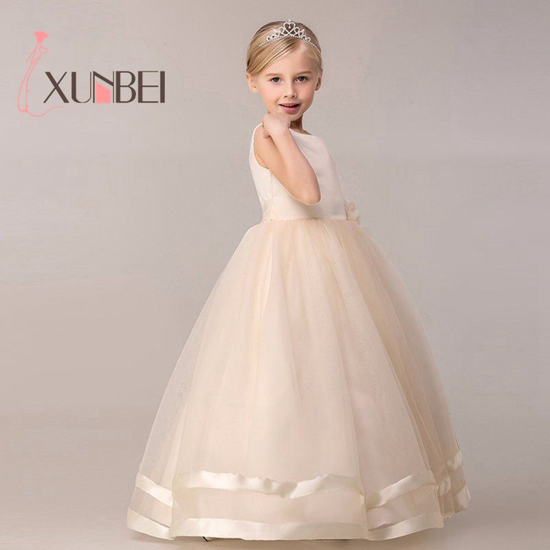 8 Colors Princess Kids Communion   Dresses   Big Bow   Flower     Girl     Dresses   For Weddings 2019 Organza Peagant Wedding Party   Dress