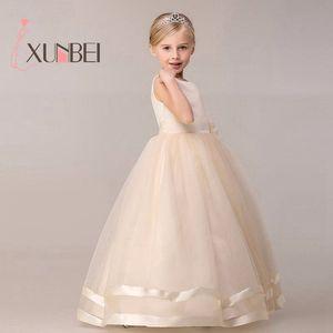 Image 1 - Vestidos de princesa, 8 cores, comunhão, crianças, grande, laço, flor, vestidos para casamentos, organza, peagant, vestido de festa de casamento