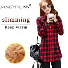 fashion feminina Long shirts tops Girls sleeve Winter Thickening Coat Lattice blouse plaid female women casual blouses