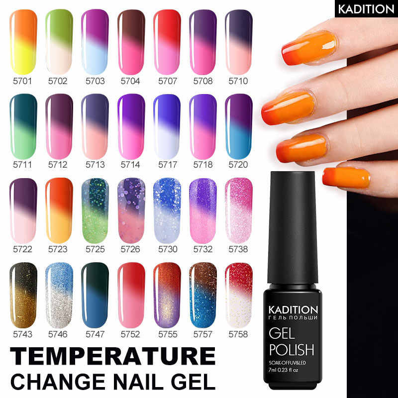 Kadition 29 sorte cor thermo gel polonês mudança de temperatura cor uv gel verniz uv gel verniz gel semi-permanente