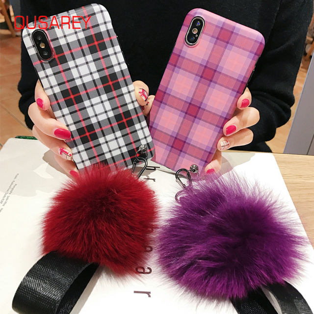 Qusarey Fashion Plaid Print Phone Case For iphone 6S X 6 7 8 Plus XR XS MAX Fashion Soft Cover Matte with Fluffy Ball and Belt