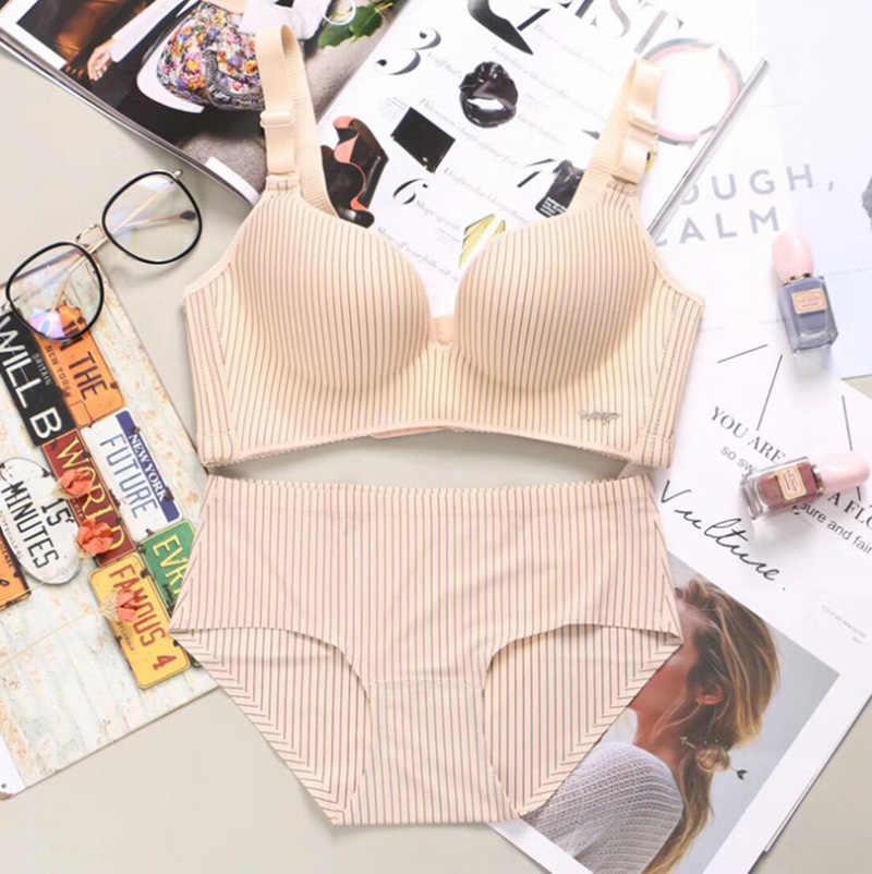 Nouvelle marque printemps Sexy Push Up soutien-gorge définit les sous-vêtements rayés de mode des femmes ensemble intime Noble jeune fille soutien-gorge bref ensembles