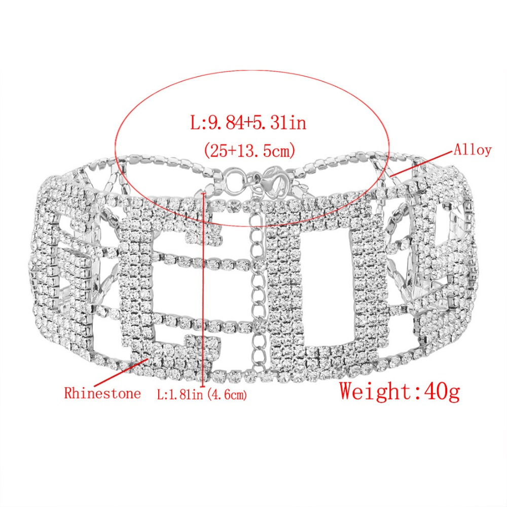 US $33 49 19% OFF|5 pcs Fashion Wide Choker Short GCDS Letter Shniy Crystal  Rhinestone Necklace Jewelry For Women Collar Silver Collar Duftgold-in